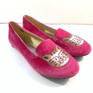 Lands End Girls Fuchsia Pink Velvet Flats Cat